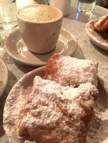 Cafe Du Monde beignet and latte
