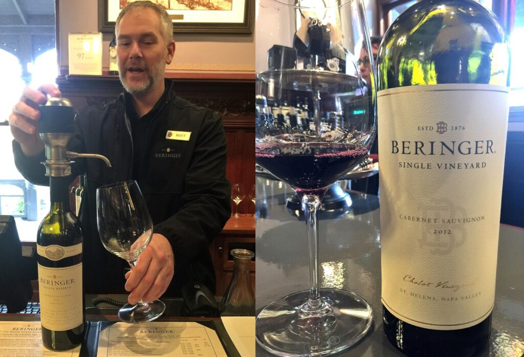Matthew King demonstrates aerator Beringer Vineyards with wine