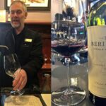Matthew King demonstrates aerator Beringer Vineyards with wine