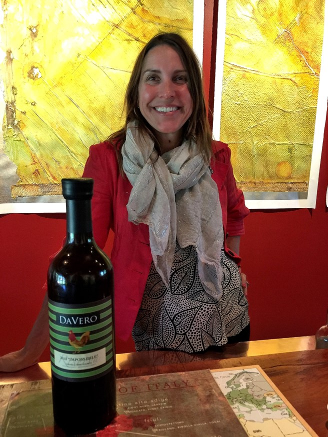DaVero Winery tasting room hostess Stephanie with DaVero 2013 Impossibile Riserva