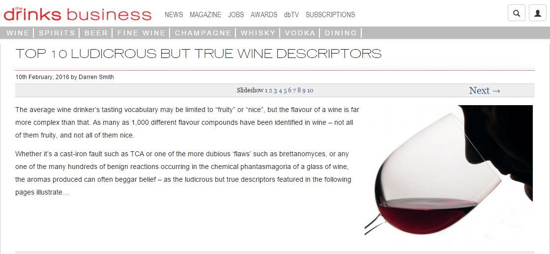 Drinks Business Ludicrous But True Wine Descriptors