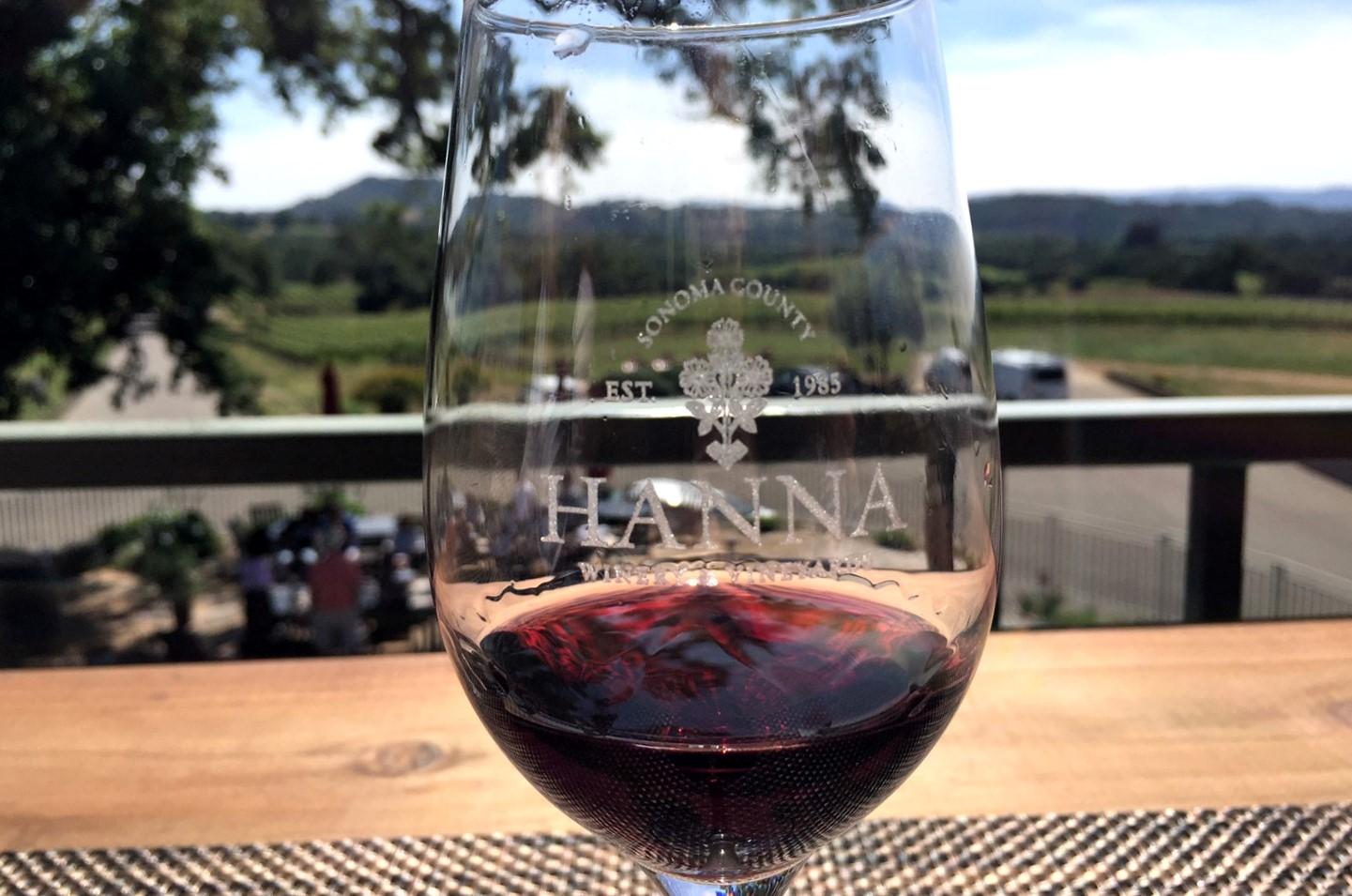 Hanna Winery tasting room red wine beautiful scenery