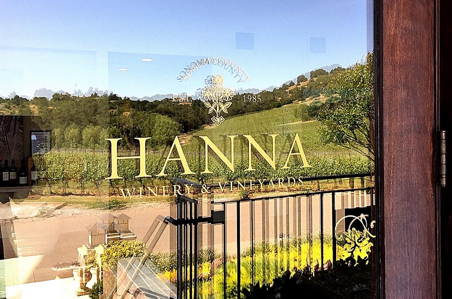 Hanna Winery tasting room reflection on main entrance door