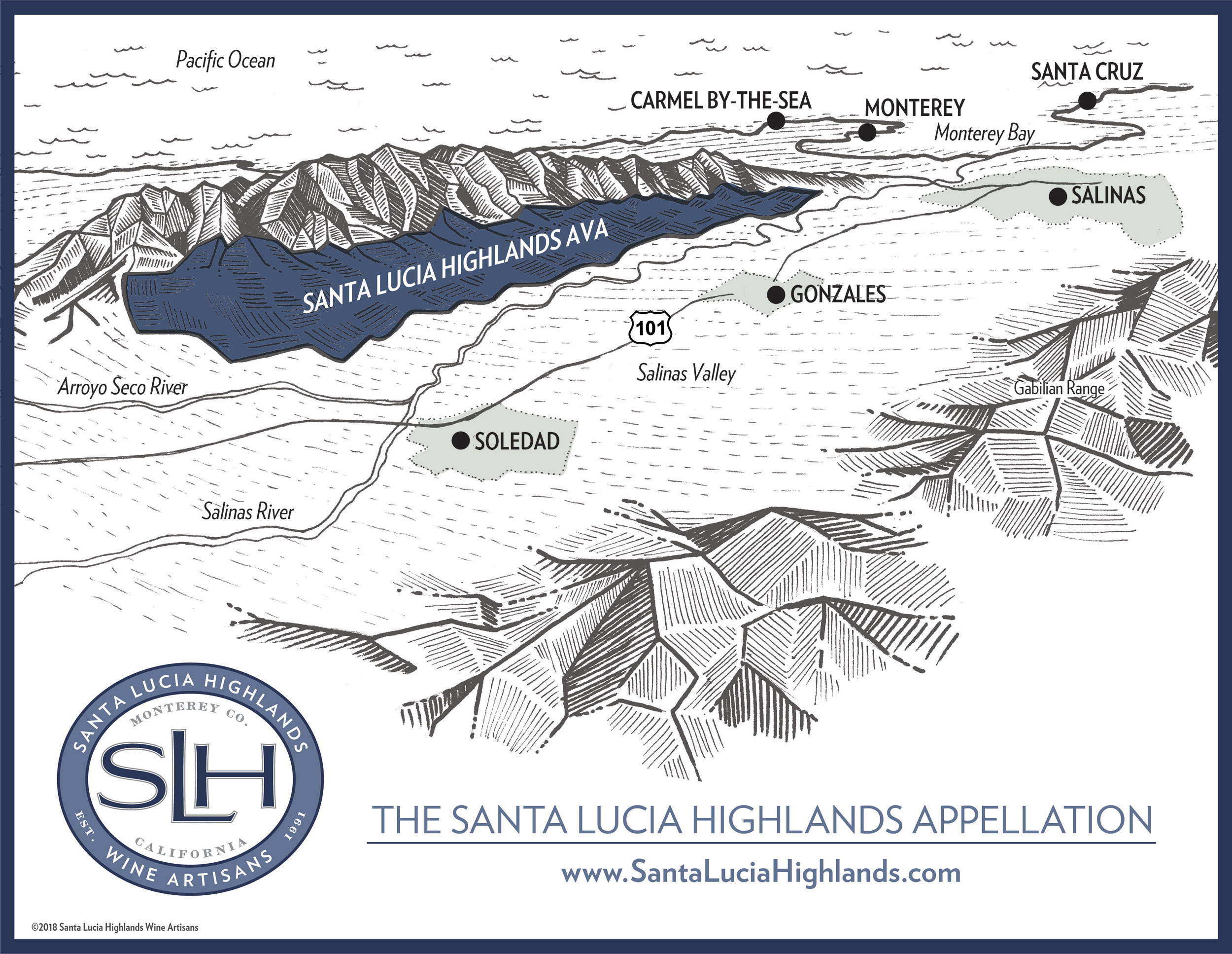 Santa Lucia Highlands AVA map