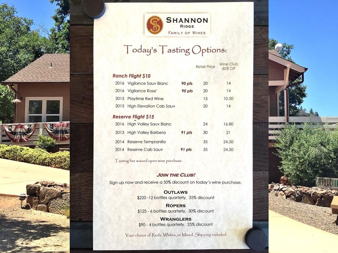 Shannon Ridge Tasting Room Menu Lake County