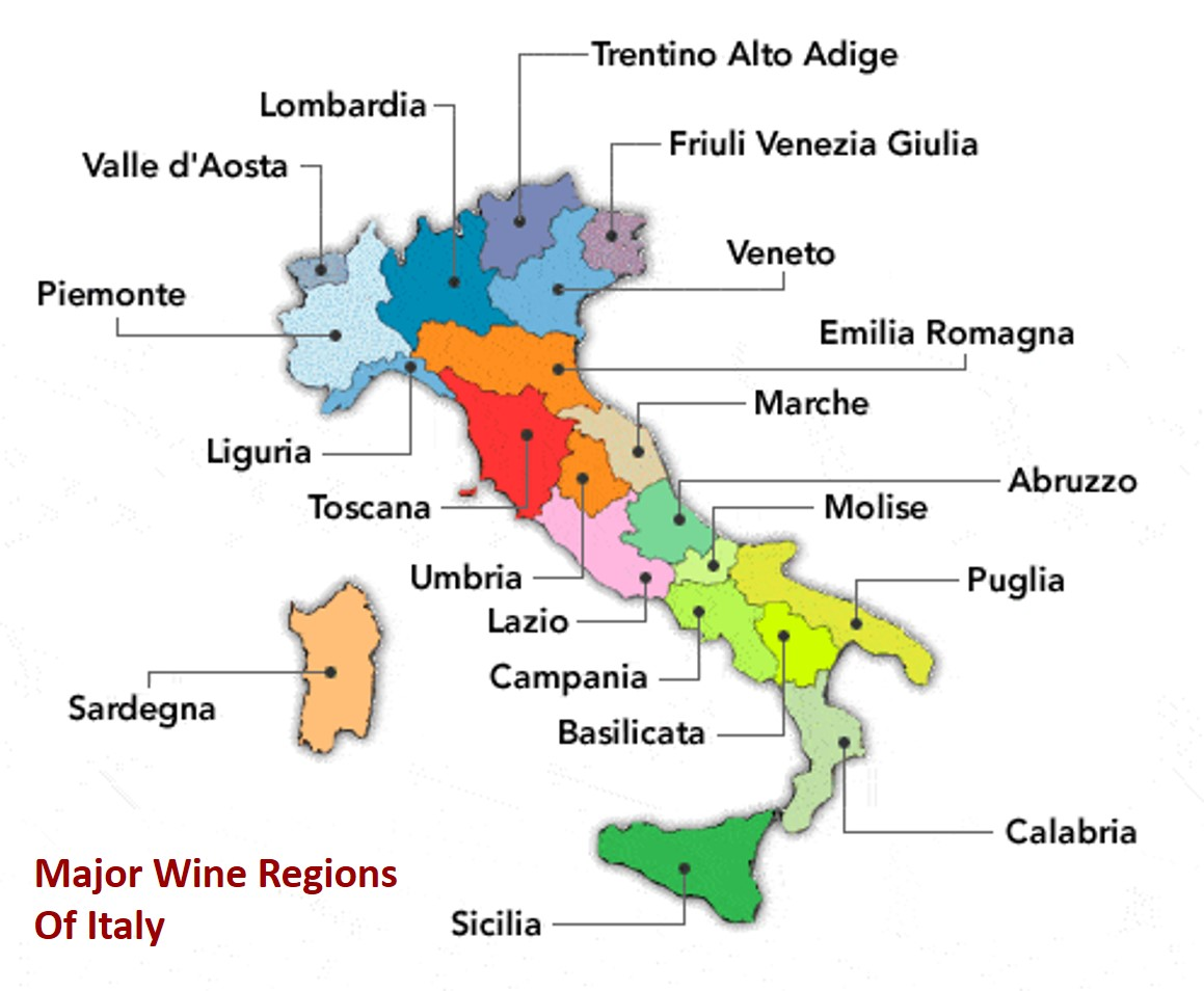 Major Wine Regions Of Italy